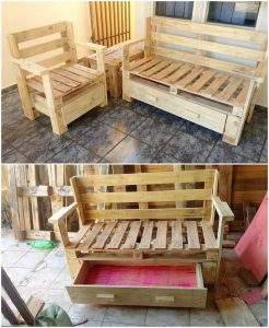 Pallet Bench with Drawer