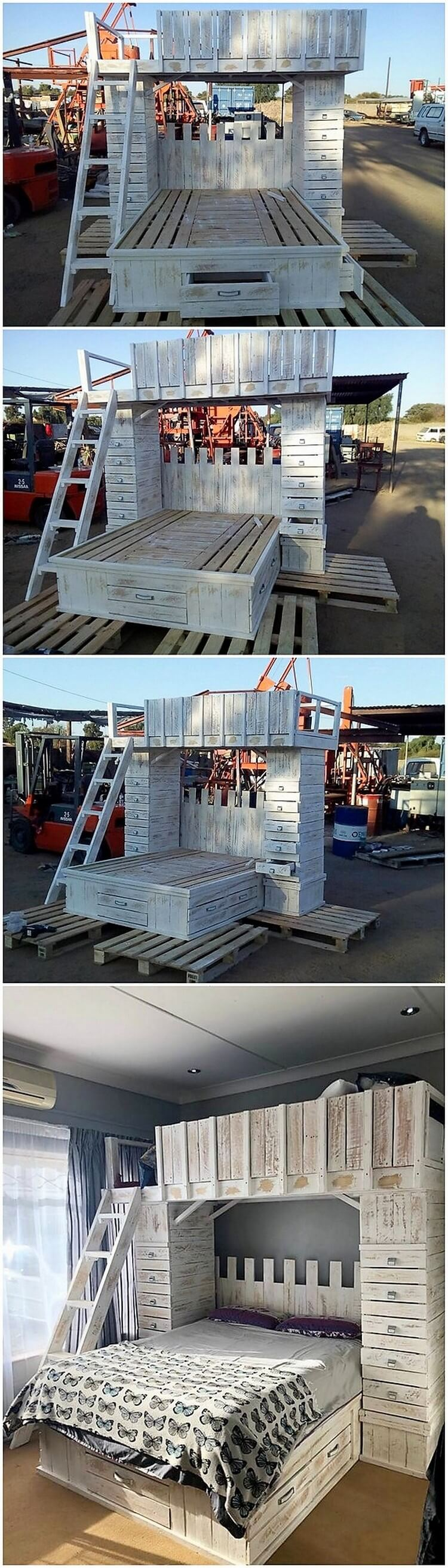 Pallet Bunk Bed with Storage Drawers