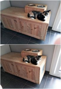 Pallet Cat House with Food Feeder
