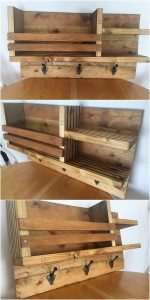 Pallet Coat Rack with Shelves