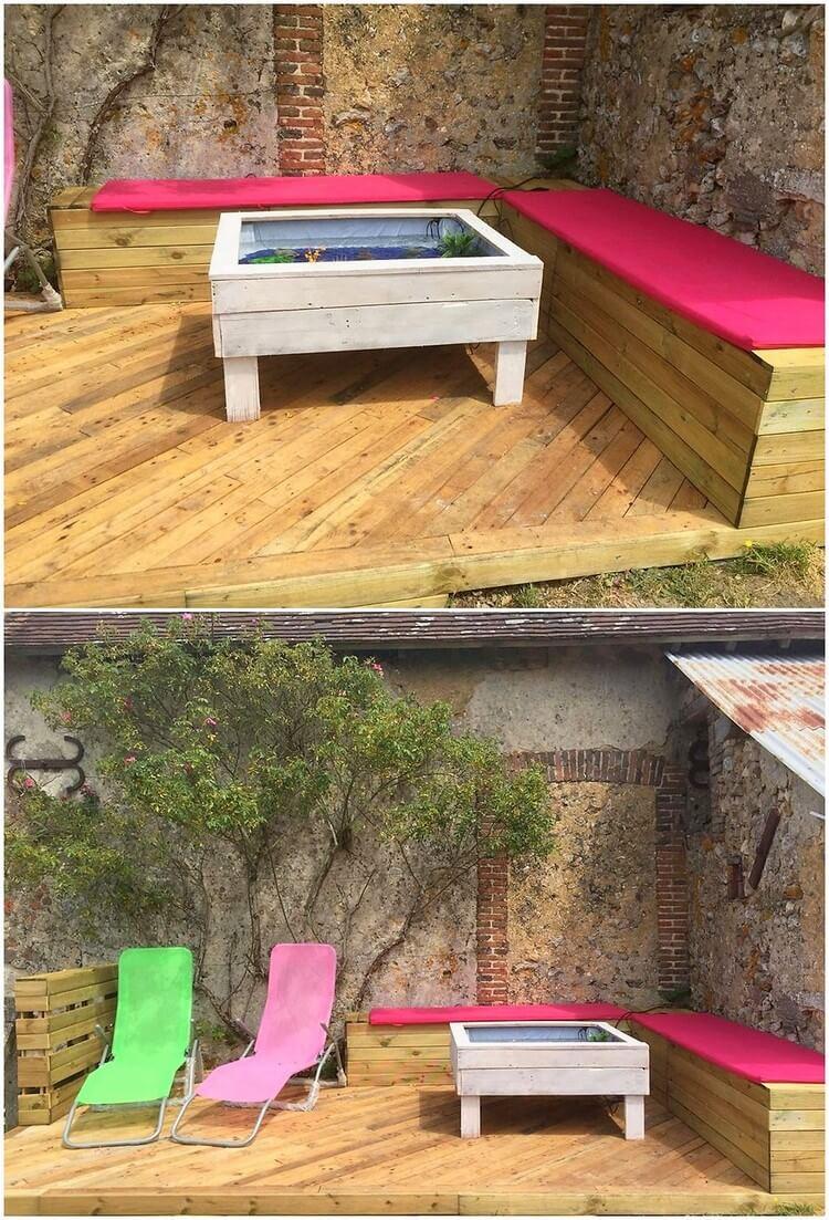 Pallet Garden Deck with Furniture