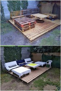 Pallet Garden Terrace with Couch Set
