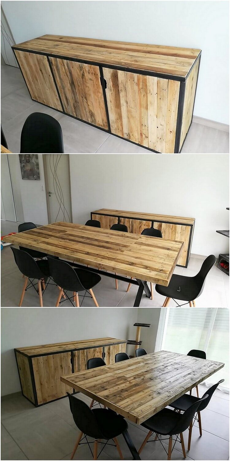 Pallet Media Cabinet and Dining Table