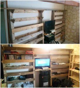 Pallet Media Unit with Shelves