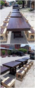 Pallet Outdoor Tables and Stools