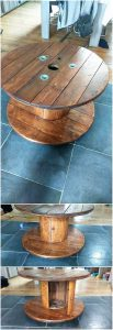 Round Top Pallet Table with Storage