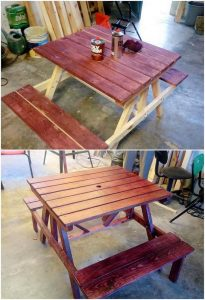Wooden Pallet Table with Benches