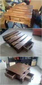 Pallet Coffee Table with Drawers