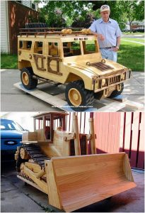 Pallet Jeep and Bulldozer