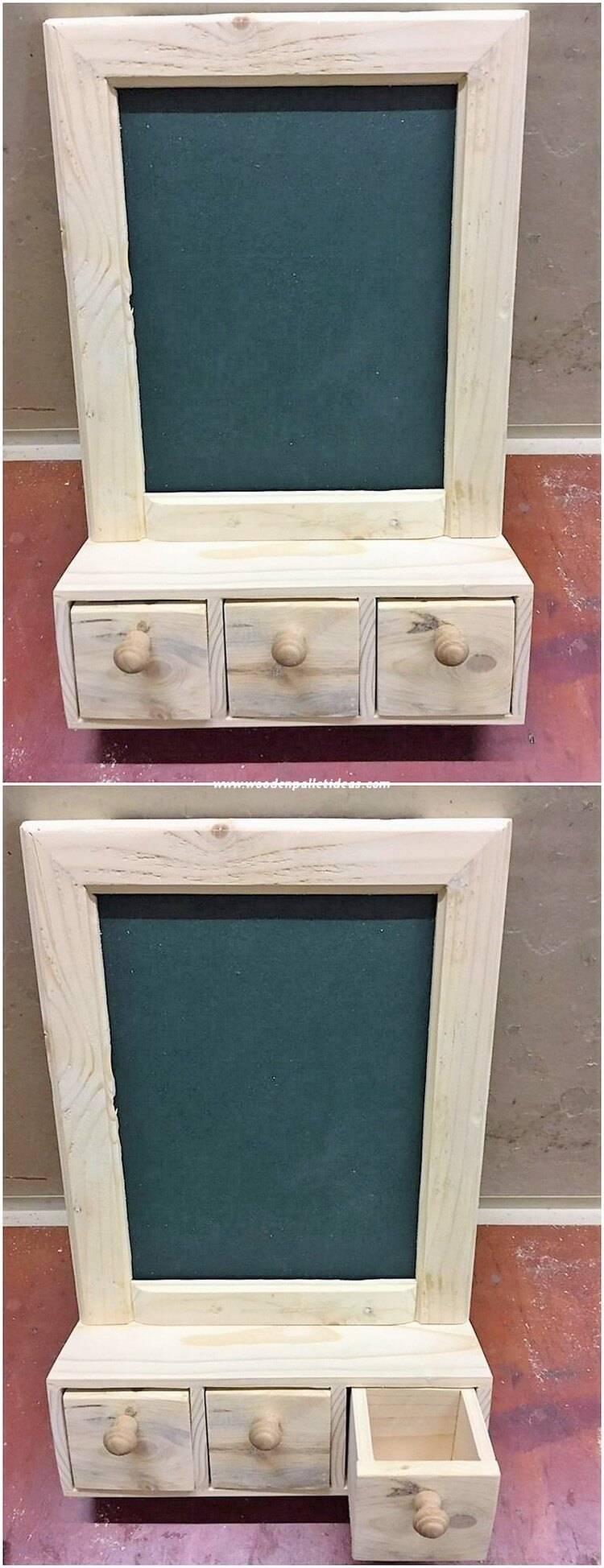 Pallet Mirror Frame with Drawers