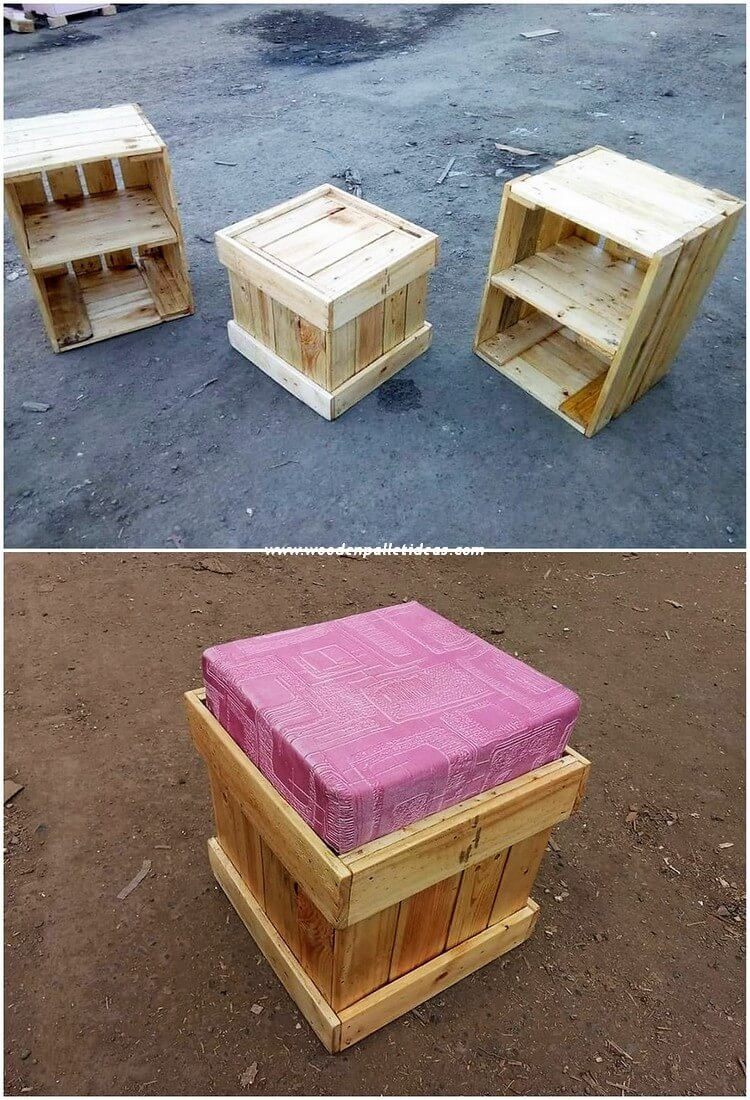 Pallet Seat and Side Tables