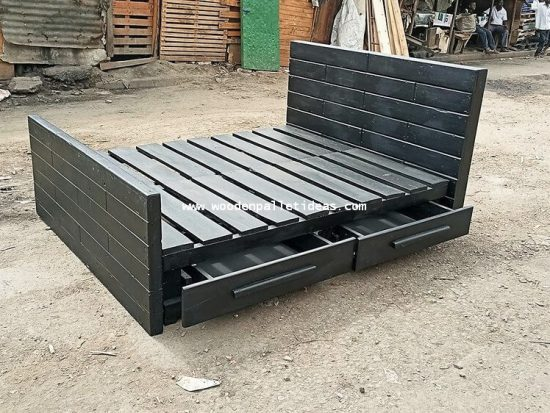 Wooden Pallet Bed with Storage Drawers