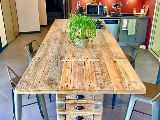 Recycled Pallet Kitchen Island Table / Dining Table