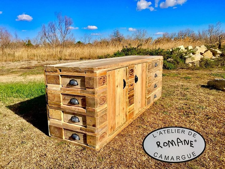 Wooden Pallet Media Cabinet