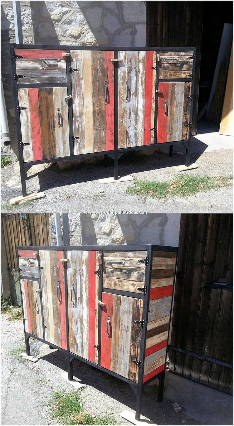 Colorful Pallet Cabinet