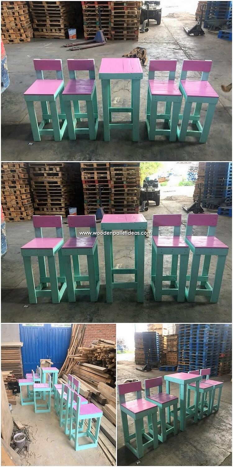 Colorful Pallet Table and Chairs