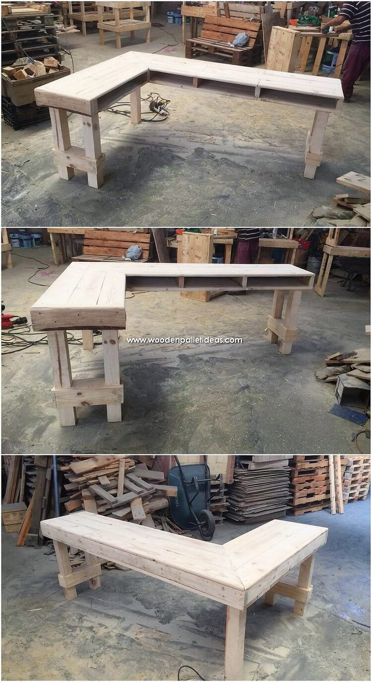 L Shaped Pallet Desk