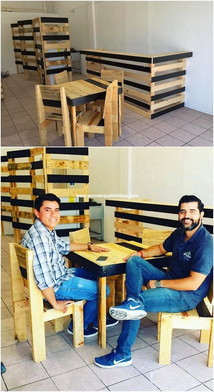 Pallet Bar Counter and Furniture Set