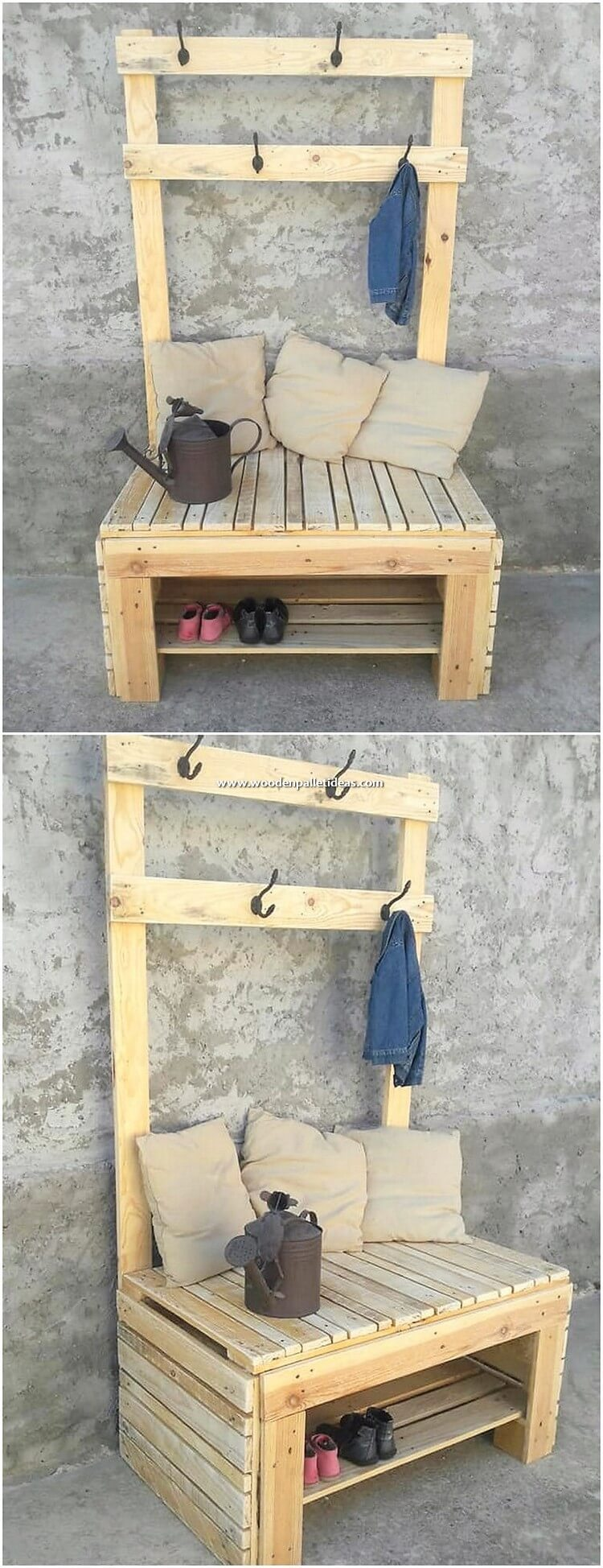 Pallet Coat Rack with Shoe Rack