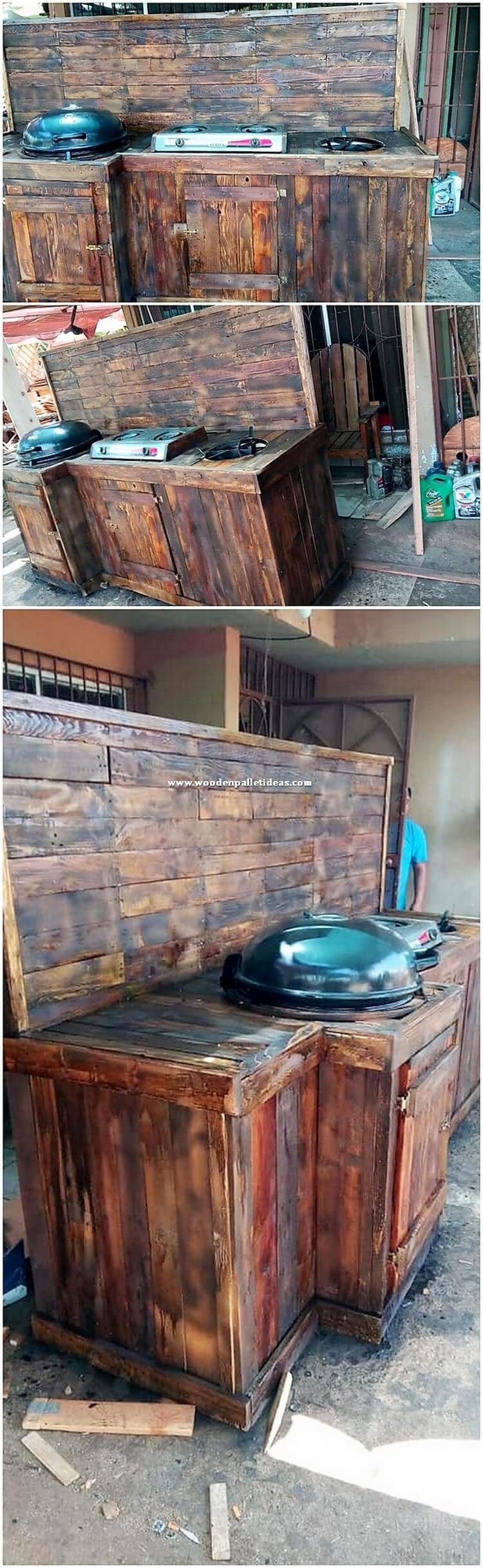 Pallet Outdoor Kitchen and Grill Table