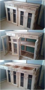 Wood Pallet Cabinet with Drawers
