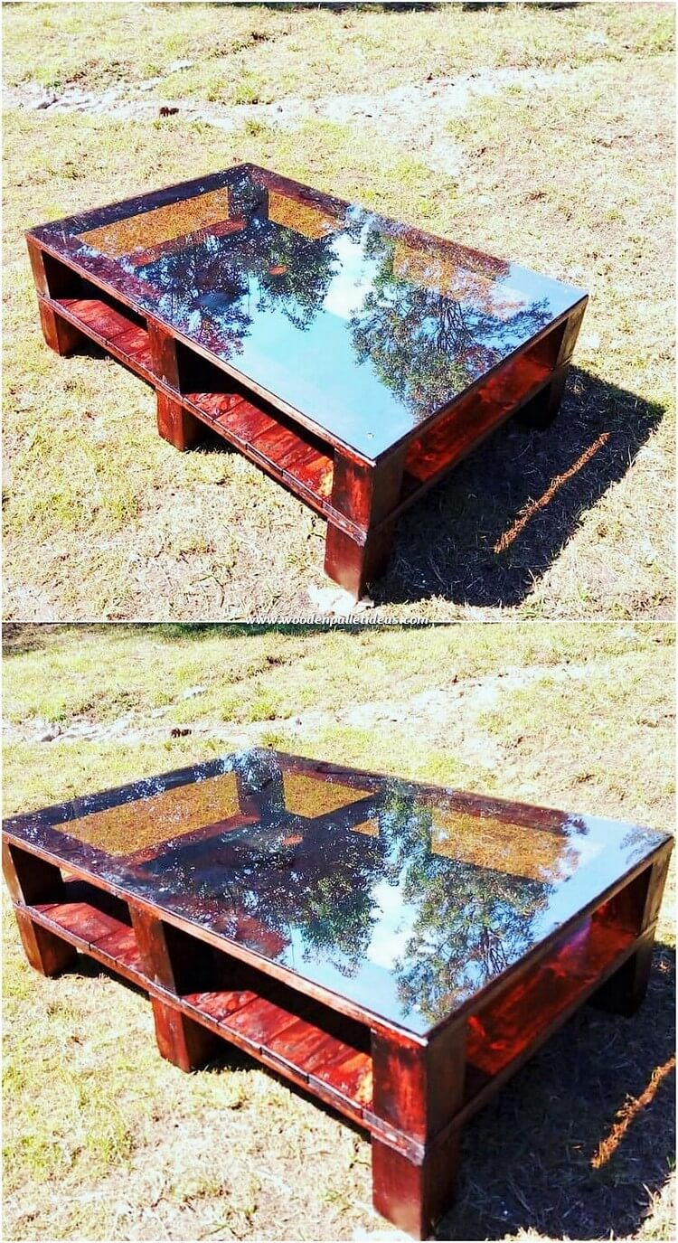 Glass Top Pallet Table