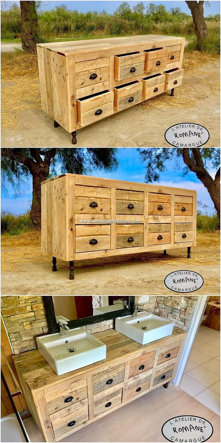 Pallet Bathroom Sink with Drawers