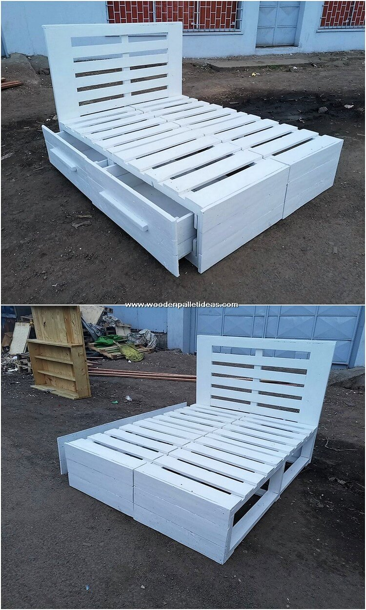 Pallet Bed Frame with Drawers