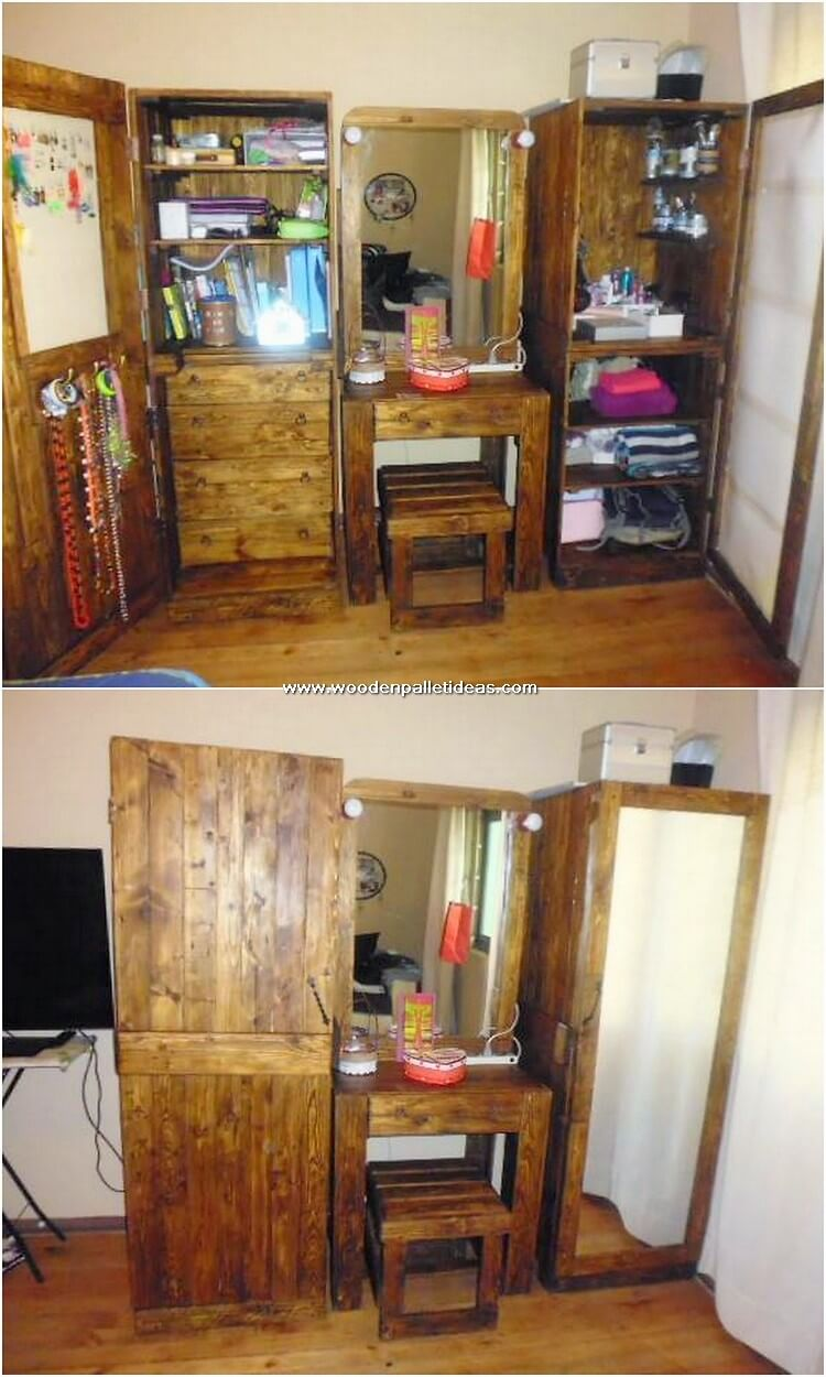 Pallet Closet with Dresser
