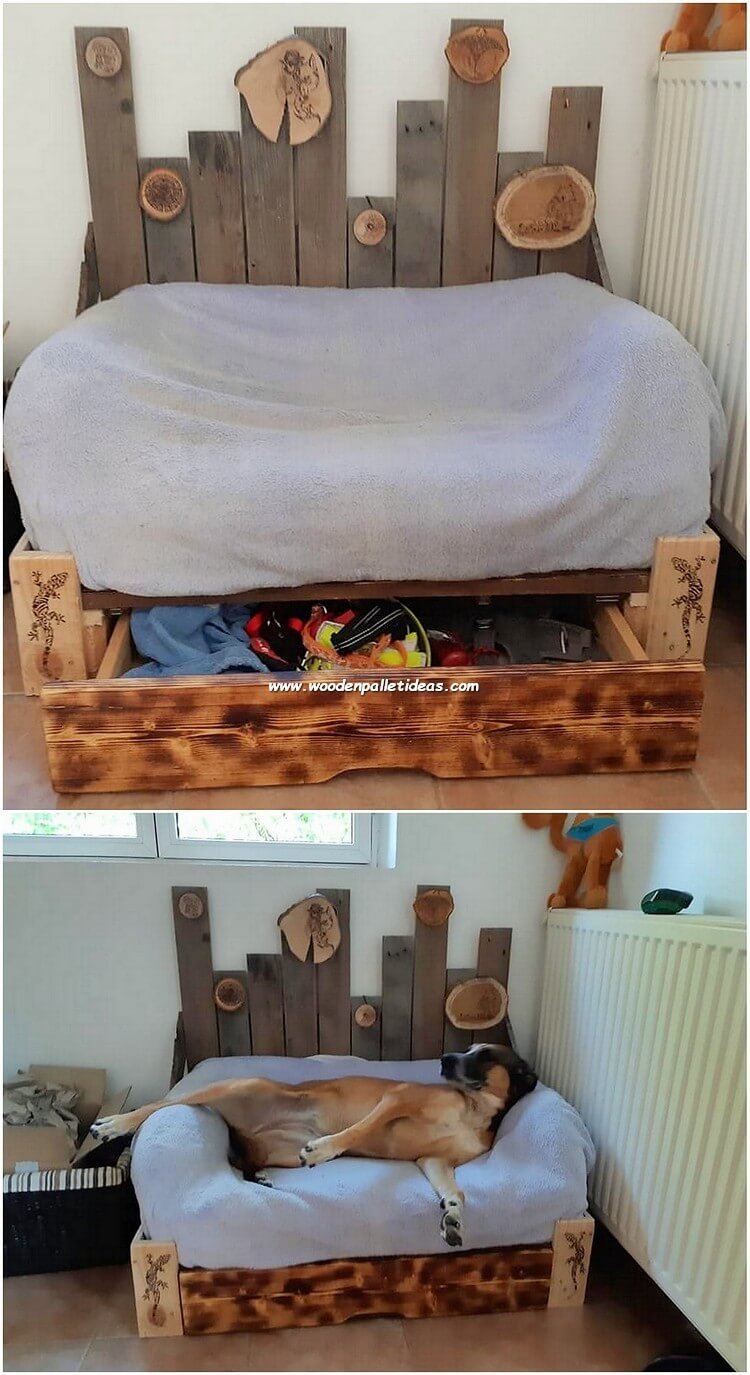 Pallet Dog Bed with Drawer