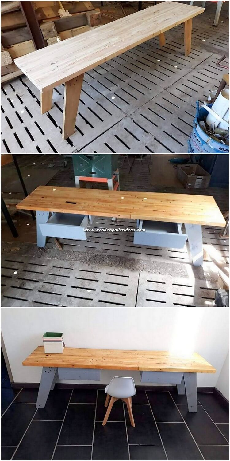 Pallet Study Table with Drawers