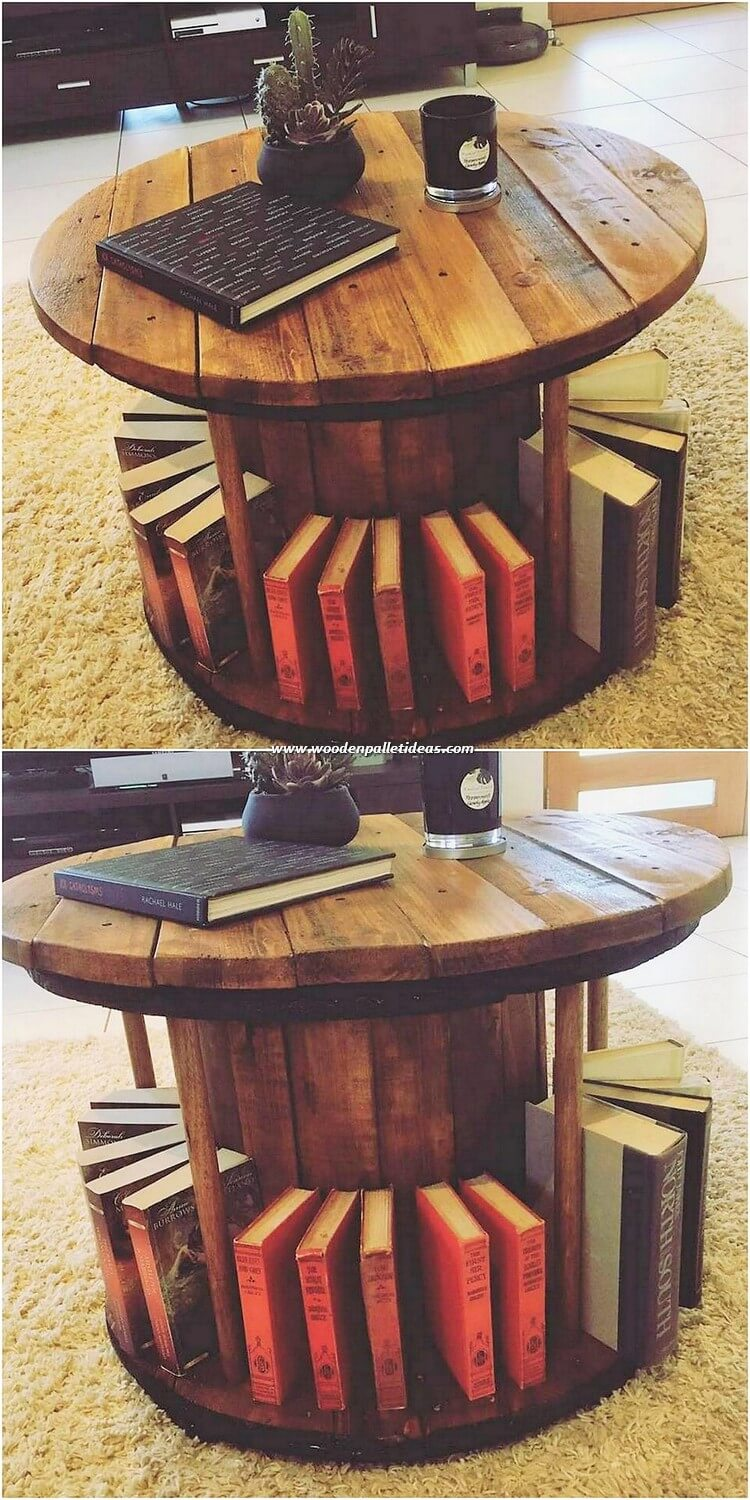Round Top Pallet Table with Bookstorage