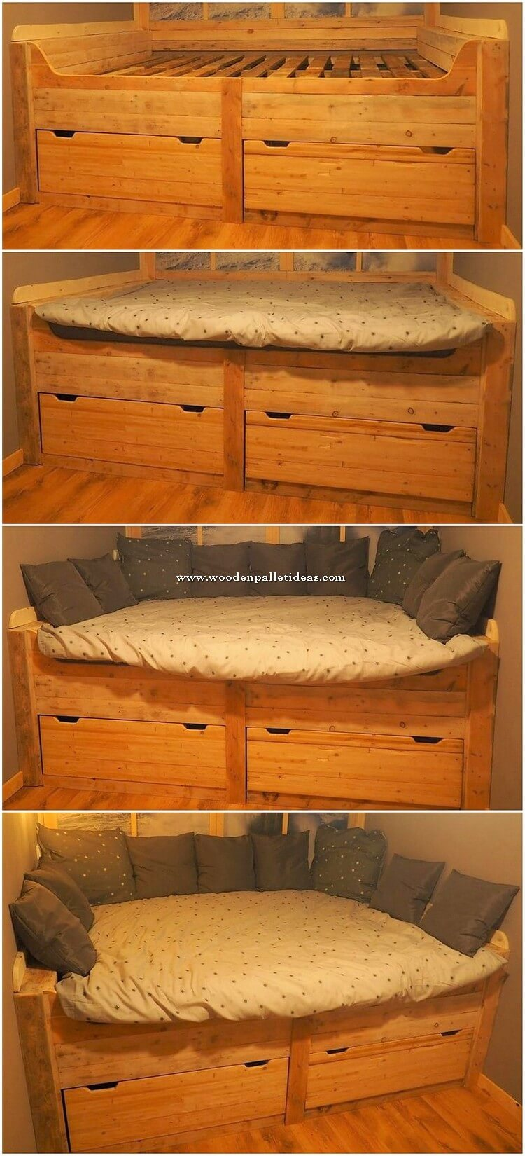Pallet Daybed with Drawers