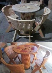 Pallet Chairs and Round Top Table