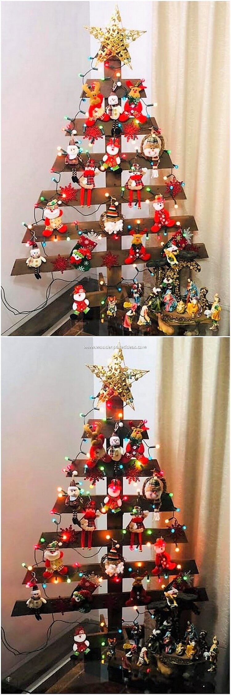 Pallet Christmas Tree with Lights