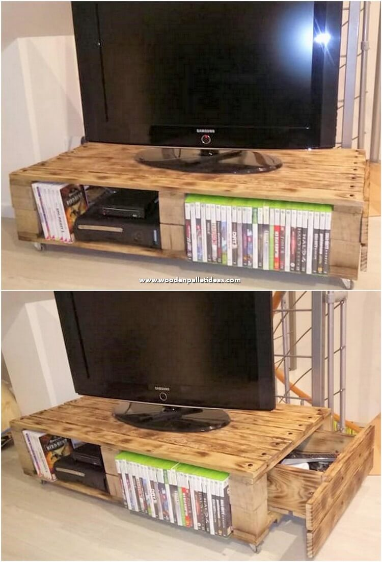 Pallet Media Table with Drawer