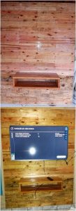 Pallet Wall Paneling with Media Unit