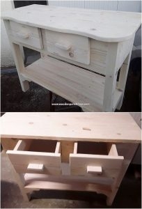 Wooden Pallet Table with Drawers
