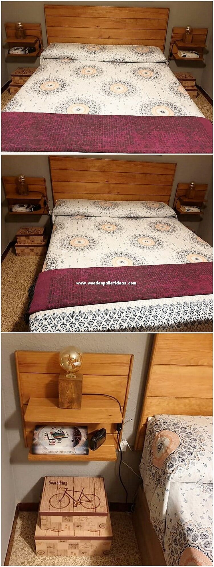 Pallet Bed Headboard with Side Table