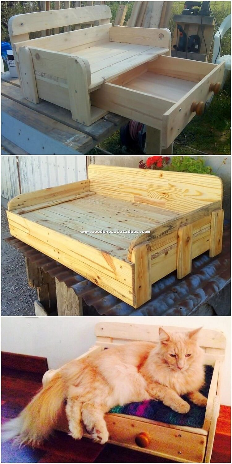 Pallet Cat Bed with Drawer
