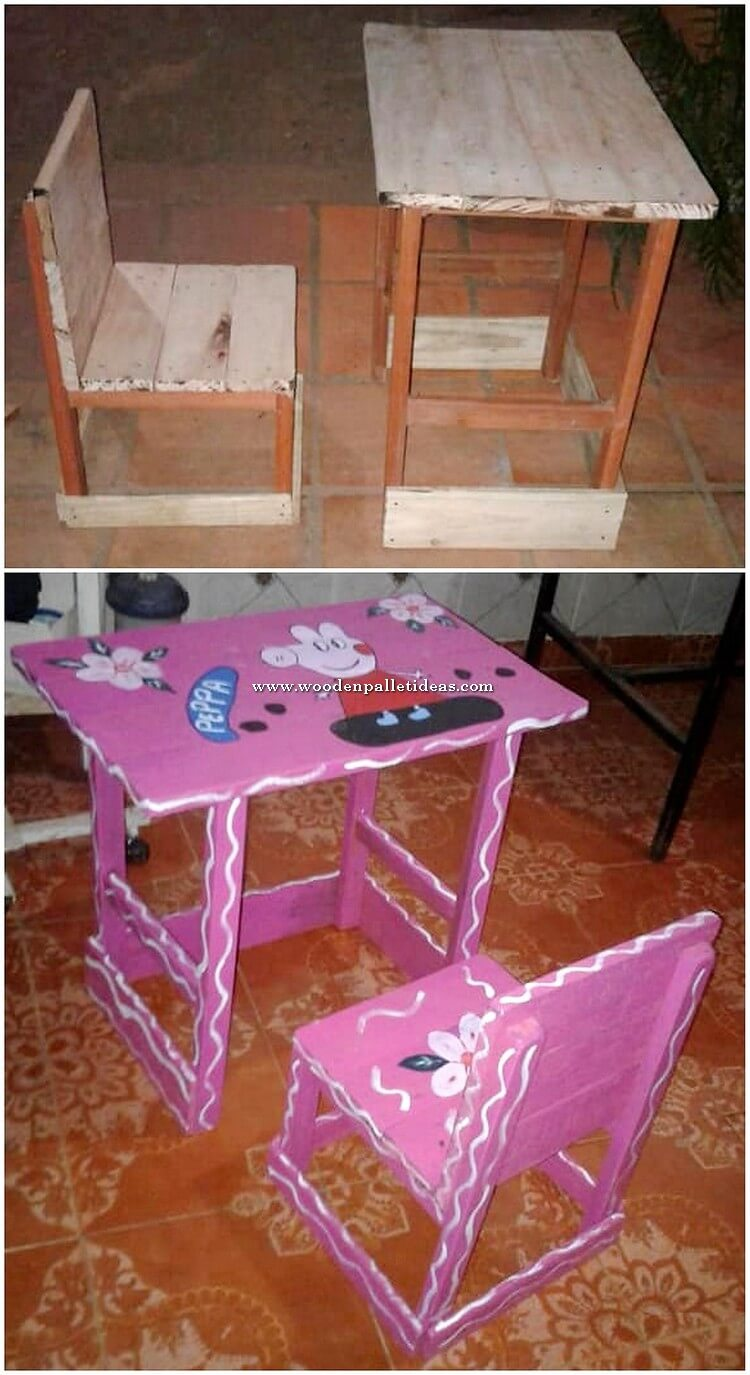 Pallet Kids Study Table and Chair