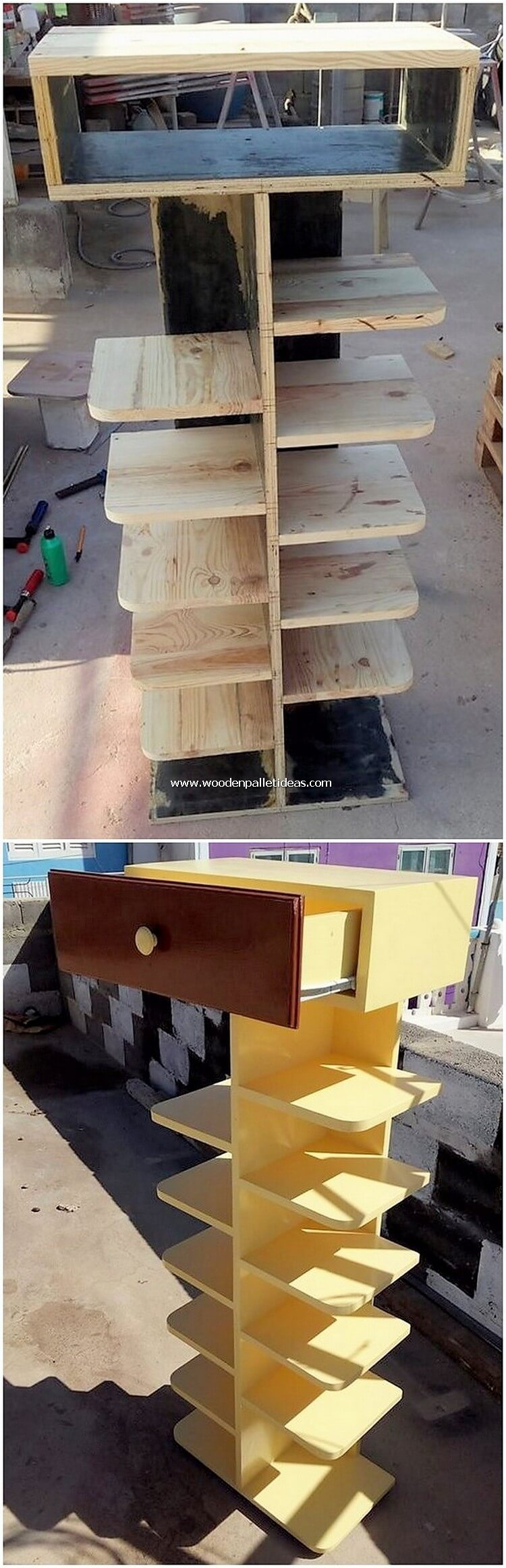 Pallet Shelving Unit with Drawer