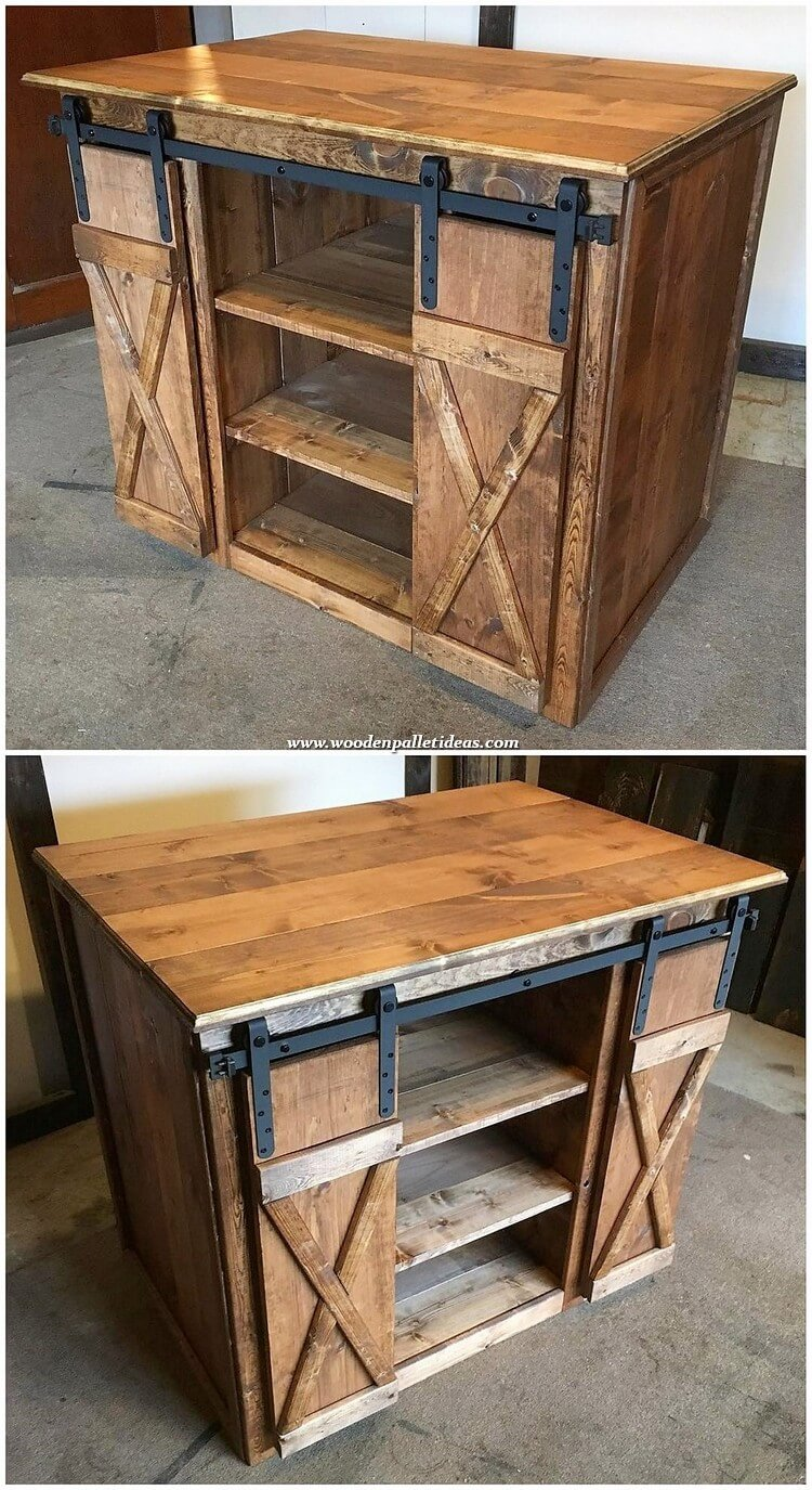 Wood Pallet Cabinet with Sliding Doors