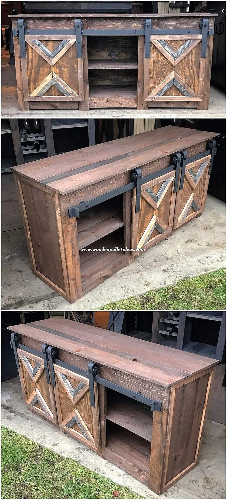 Wooden Pallet Cabinet with Sliding Doors