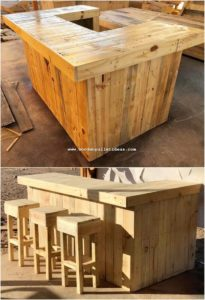 Pallet Counter Table and Stools