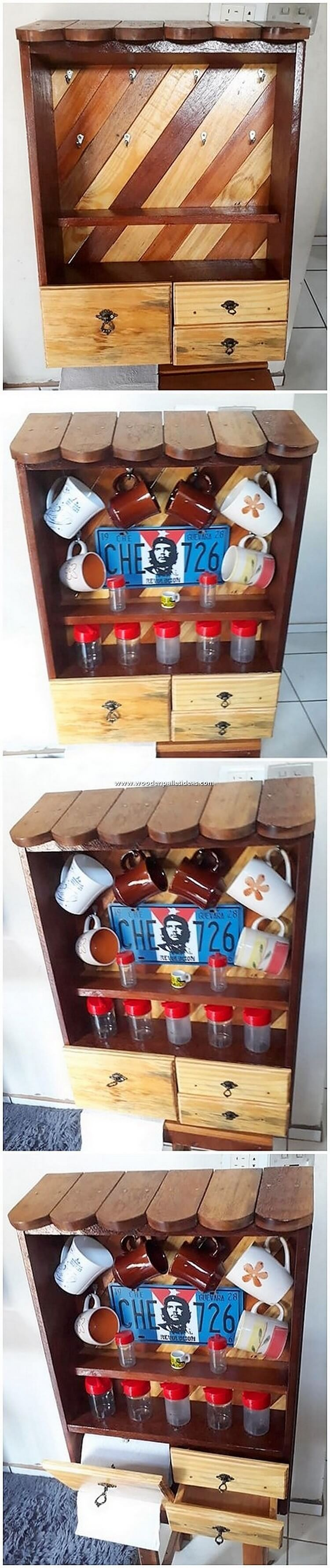 Pallet Cup Holder with Drawers