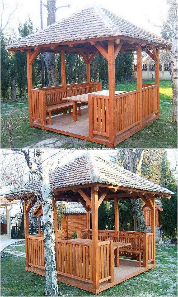 Pallet Pergola with Furniture