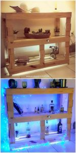 Pallet Shelving Table with Lights