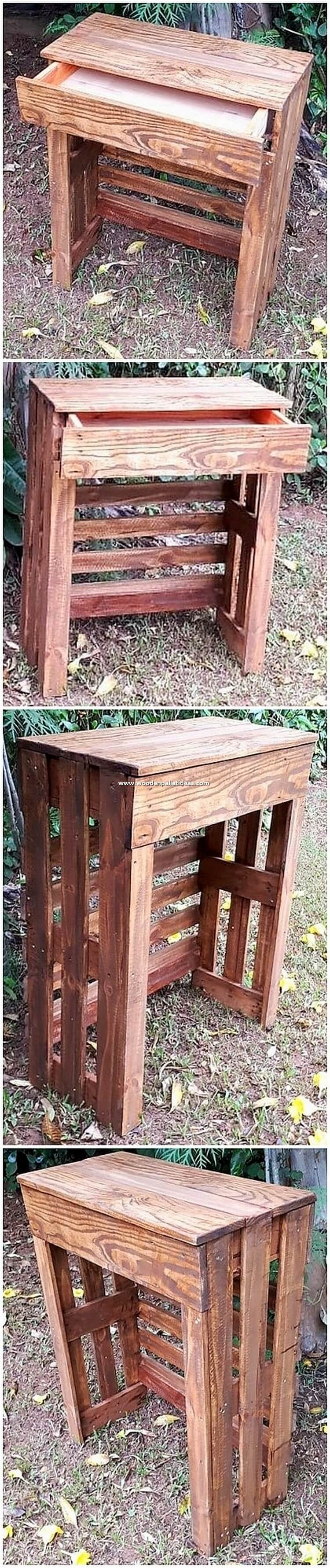 Pallet Side Table with Drawer