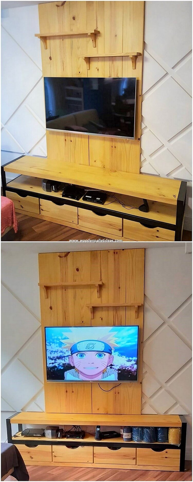 Pallet Wall LED Holder and Media Table